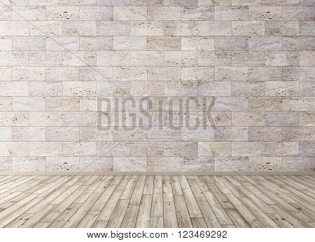 Interior With Stone Tiles Wall And Wooden Floor 3D Render