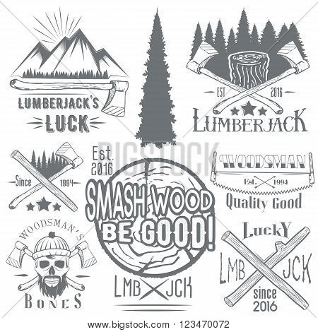 Vector set of lumberjack and woodsman vector labels in vintage style. Wood work and manufacture emblems templates. Design elements, icons, badges and stamps isolated on white background.