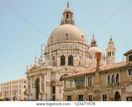 Santa Maria della Salute on the Grand Canal in Venice Italy, side view
