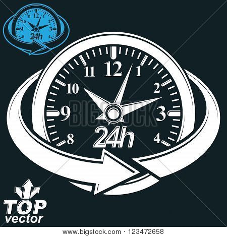 3d vector round 24 hours clock with arrow around. Business graphic perspective timer. Twenty-four hours a day conceptual elegant icon isolated on dark background.