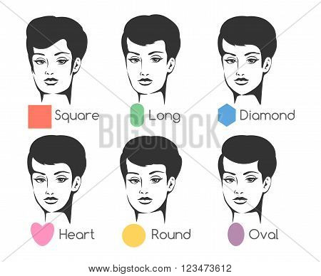 Set of six woman's face shapes. Isolated on white. Free font used.