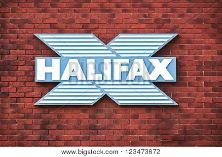 Doncaster, UK - march 14, 2016: The main logo sign on the wall of the Halifax branch bank.