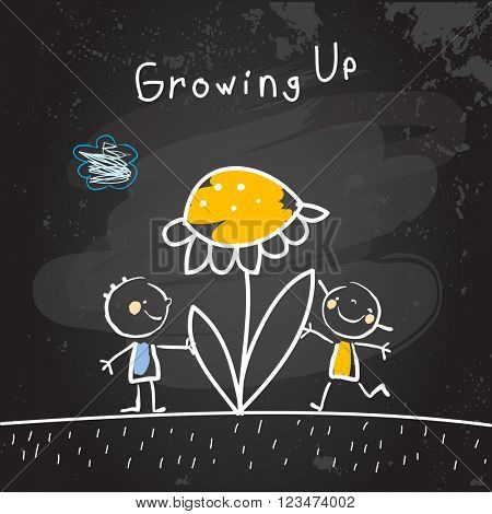 Growing up conceptual vector illustration. Kids with flower, chalk on blackboard doodle style hand drawn drawing.