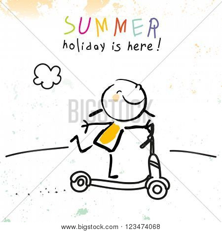 Summer vacation for kids at school. Girl on scooter sketch, doodle. Vector illustration.