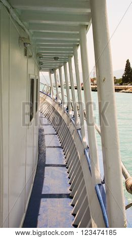 Covered walk way on tourist sightseeing boat in the Corinth Canal