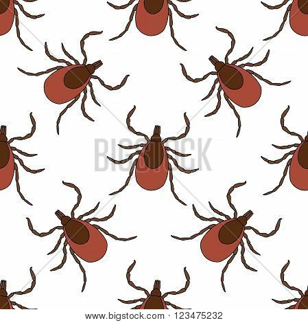 Seamless pattern with Tick. Mite. hand-drawn Tick, Mite . Vector illustration