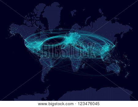 Aviation airline comunication night map. Airline flows airline routes and carried passangers. Air transport map with  airport connections. Graph theory earth at night.
