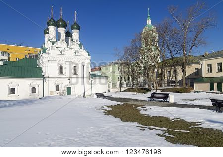 Old chirches in Zamoskvorechye, Moscow, Russia. Sunny winter day.