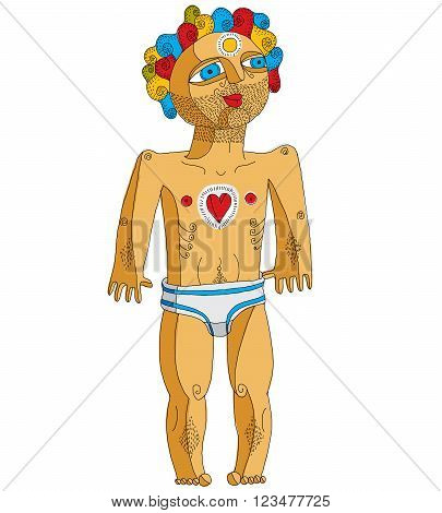Vector illustration of nearly nude man Adam concept. Hand drawn image of person isolated on white symbolizing love and goodness.