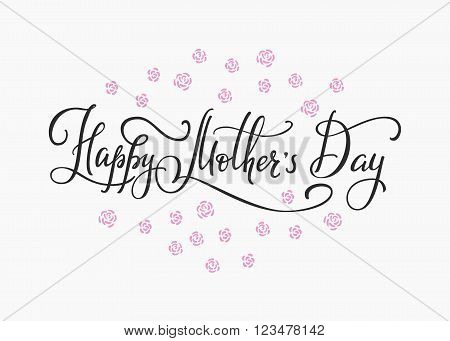 Happy Mothers day simple typography. Calligraphy postcard or poster graphic design lettering element. Hand written calligraphy Mothers Day postcard design. Photography overlay. Love Mom day lettering