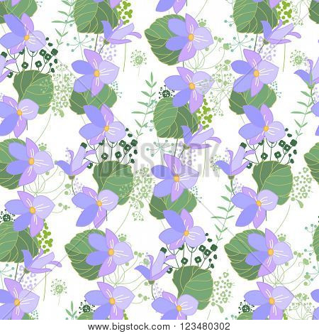 Seamless floral pattern with blue flowers violas. Endless texture for your design, greeting cards, announcements, posters.