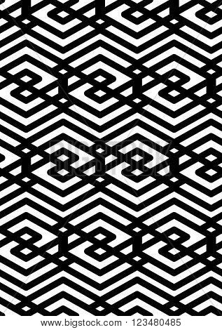Black and white abstract ornament geometric seamless pattern. Symmetric monochrome vector textile backdrop. Intertwine rhombs.