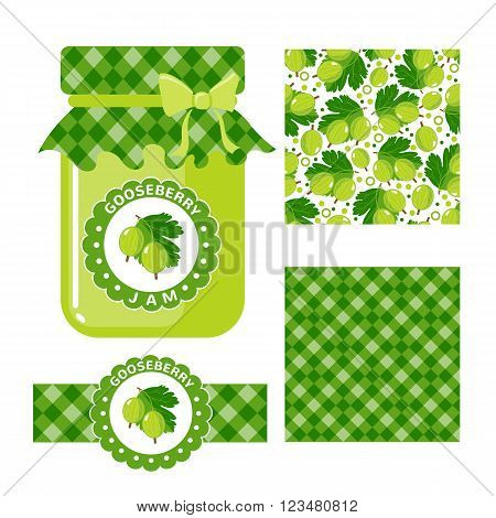 Gooseberry jam collection. Set of paper labels and seamless patterns Gingham Gooseberry on white background. Design for package, wrapping paper, textile. Vector illustration