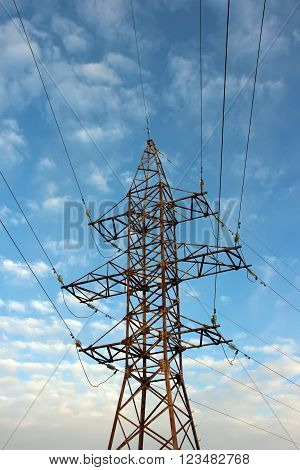 Reliance power lines with cables in the background of blue sky with clouds.