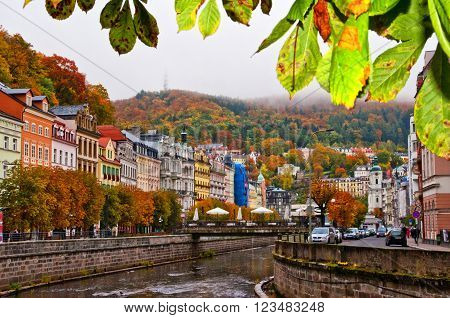 View of the beautiful spa town Karlovy Vary Prague in autumn