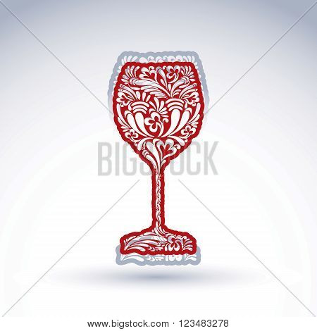 Stylized flower-patterned goblet isolated on white backdrop alcohol drink theme vector illustration. Elegant decorative wineglass with shadow romantic design element.