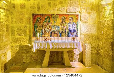BETHLEHEM, PALESTINE - FEBRUARY 18, 2016: The chapell with mosaic formarly was the cell where St. Jerome work under the translation of The Bible, on February 18 in Bethlehem.
