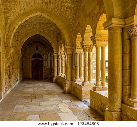 BETHLEHEM, PALESTINE - FEBRUARY 18, 2016: The covered terrace that leads to the Franciscan Monastery on February 18 in Bethlehem.