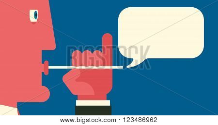 A man inflates a speech bubble using tubule. Idle talk concept illustration.