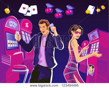 Lucky woman hold casino chips while spinning roulette. Lucky man hold money. Interior casino slot machines chairs light projectors. Design concept for gambling luck and successful play.