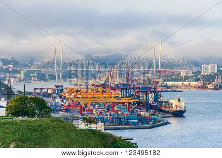 Commercial trade port in Vladivostok city, Russia