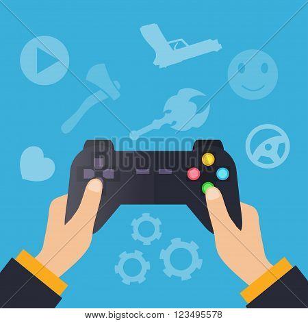 Hands holding wireless gamepad. vector illustration in flat design on blue background. Gamer concept