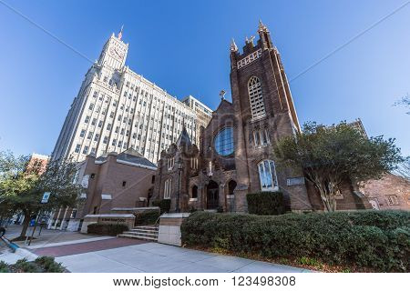St Andrew's Episcopal Cathedral And Lamar Life Building In Downtown Jackson,  Mississippi