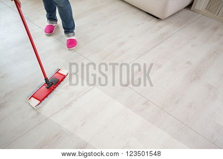 Close up of floor cleaning action with wiper