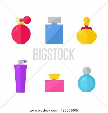 Perfume isolated icons on background. Perfume bottles set. Fragrance. Perfume icons collection. Perfumery products. Flat line style vector illustration.