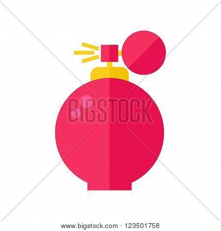 Perfume isolated icon on white background. Perfume bottle. Fragrance. Perfumery product. Flat style vector illustration.