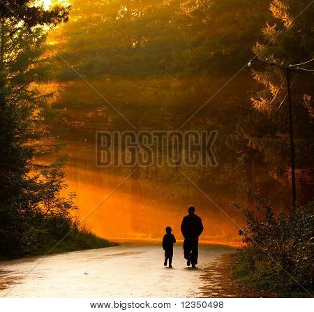 father and son walking in the sunlight