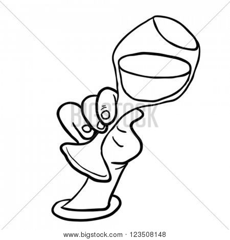 simple black and white hand holding glass of wine