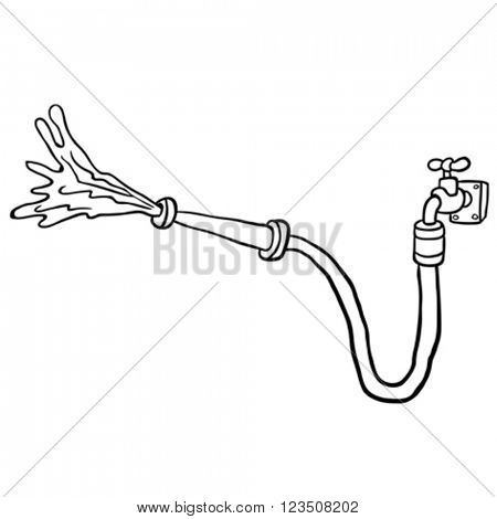 simple black and white faucet with garden hose