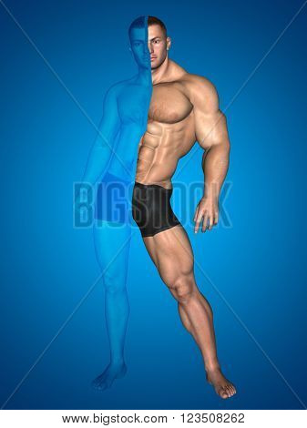 3D illustration concept or conceptual 3D strong young male man bodybuilder before and after on blue background