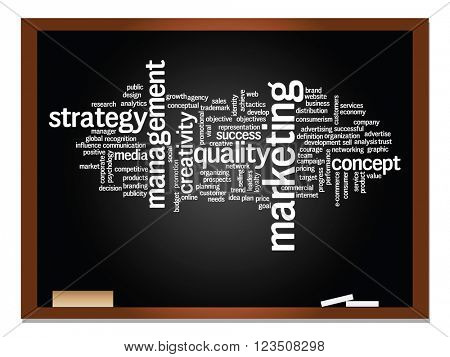Concept or conceptual business abstract word cloud on blackboard and chalk background