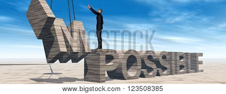 3D illustration concept conceptual 3D business man standing over abstract stone impossible text on sky background banner