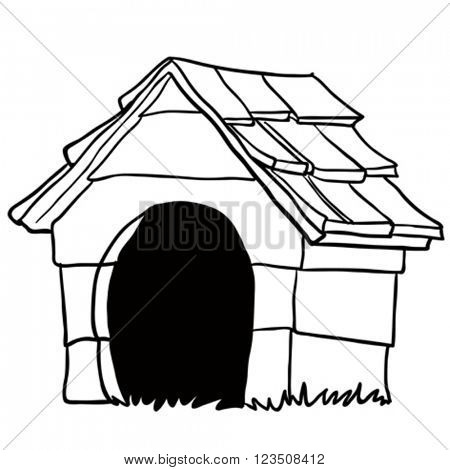 black and white dog house cartoon
