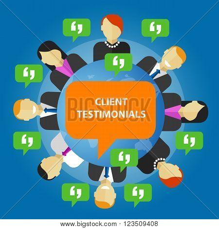client testimonials consumer feedback service opinion vector