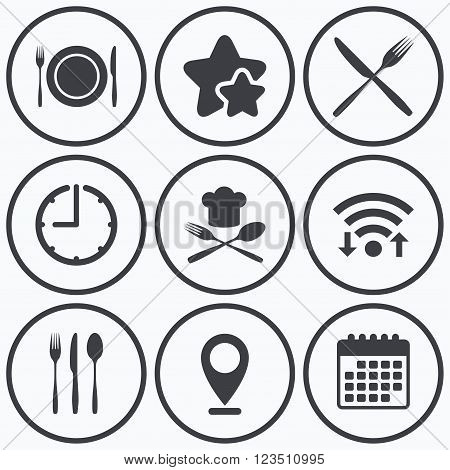 Clock, wifi and stars icons. Plate dish with forks and knifes icons. Chief hat sign. Crosswise cutlery symbol. Dining etiquette. Calendar symbol.
