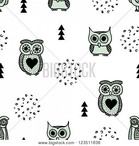 Seamless quirky kids owls geometric illustration retro scandinavian style black and white mint background pattern in vector
