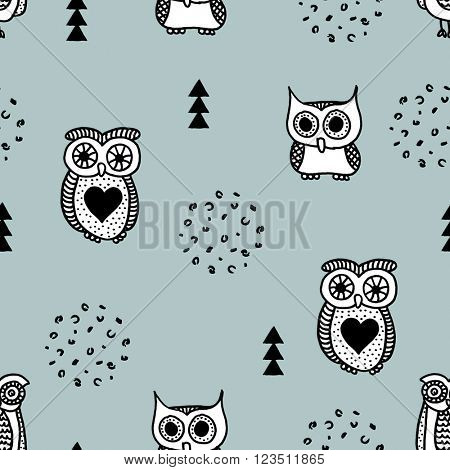 Seamless quirky kids owls geometric illustration retro scandinavian style black and white blue background pattern in vector