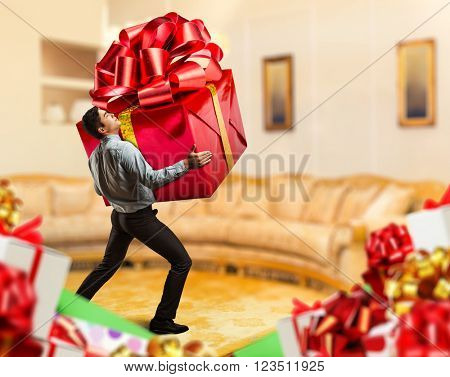 Man with a big gift