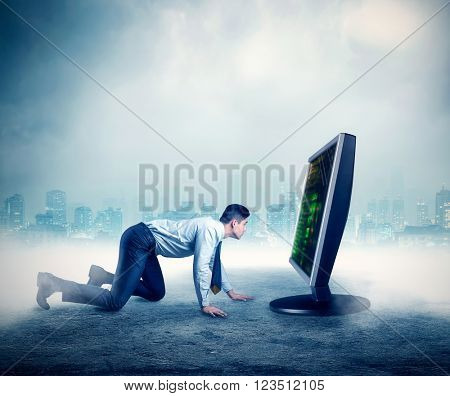 Businessman in front of the computer