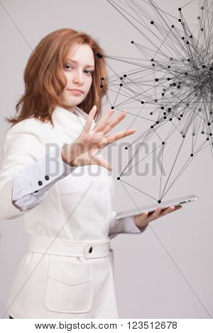 Global network connection concept, woman working with futuristic interface.