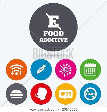 Wifi, like counter and calendar icons. Food additive icon. Hamburger fast food sign. Gluten free and No GMO symbols. Without E acid stabilizers. Human talk, go to web.