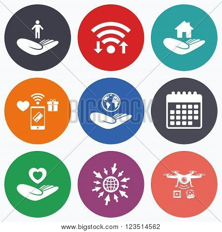 Wifi, mobile payments and drones icons. Helping hands icons. Heart health and travel trip insurance symbols. Home house or real estate sign. Calendar symbol.