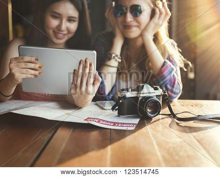 Girls Traveler Adventure Trip Vacation Concept