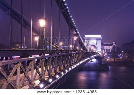 The Chain Bridge At Night, Budapest, Hungary