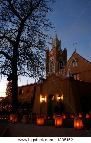 christmas eve luminarias around the san felipe de neri church