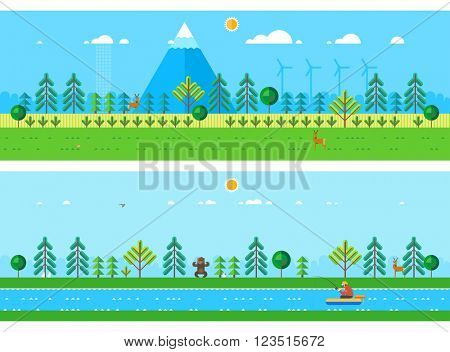 Two horizontal banners - forest at the foot of the mountain. Fisherman in a boat catching fish in the river.